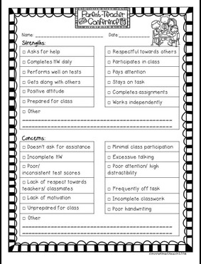 Teacher Forms to Help with Conference Preparation from More Time 2 teach