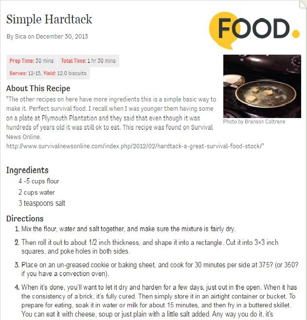 Hardtack Recipe